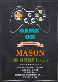 Game on birthday invitation