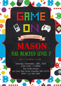 Game on birthday invitation A6 template