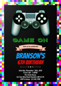Game on party invitation A6 template
