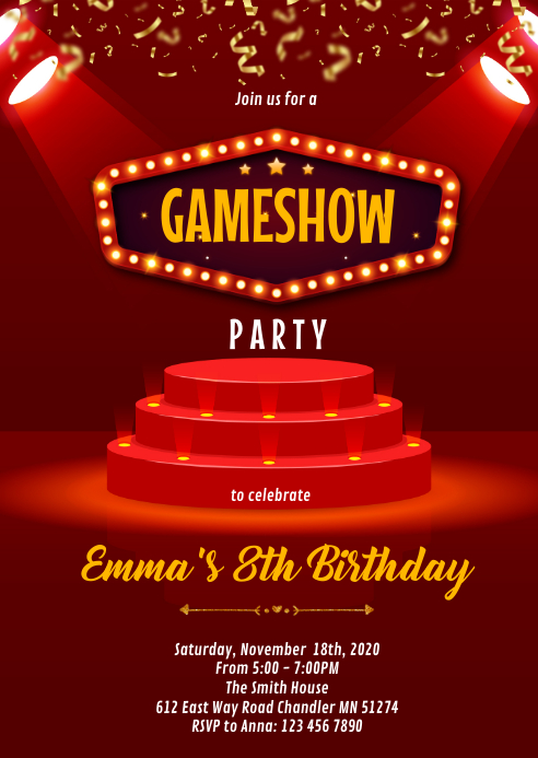 Game show party invitation A6 template