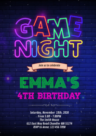 Gamenight birthday invitation A6 template
