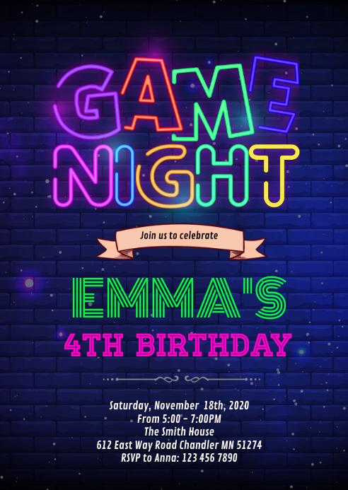 Gamenight birthday invitation A6 template