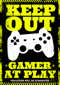 GAMER AT PLAY POSTER A4 template