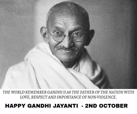 GANDHI JAYANTI BIRTHDAY ON 2ND OCTOBER TEMPLA Large Rectangle template