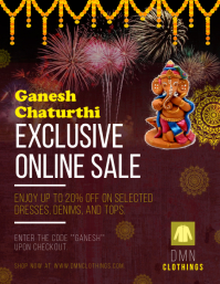 Ganesh Chaturthi Sale Flyer Pamflet (Letter AS) template