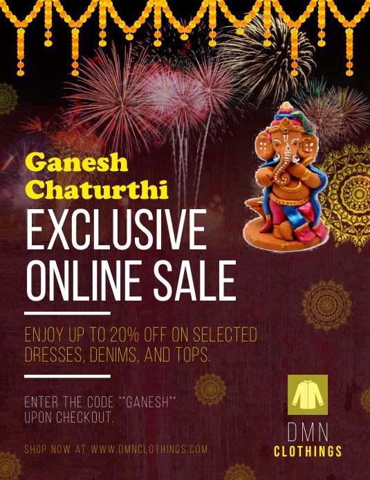 Ganesh Chaturthi Sale Flyer Рекламная листовка (US Letter) template