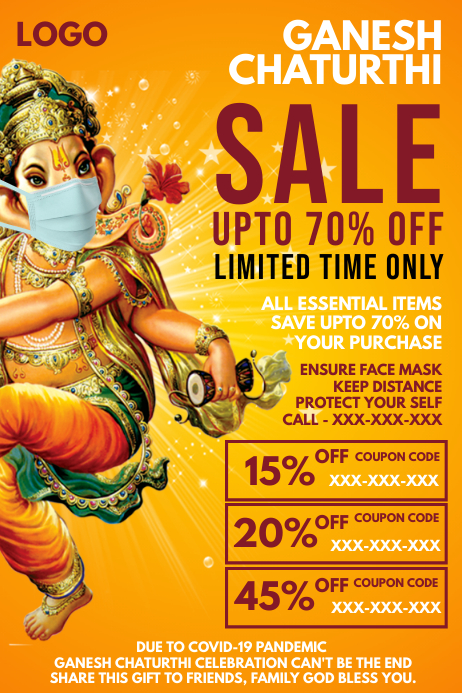 Ganesh Chaturthi Sale in Covid Template Poster