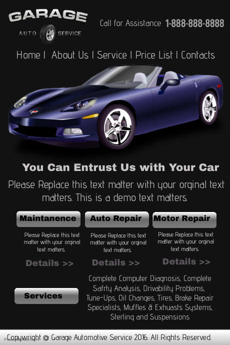 garage auto service website template
