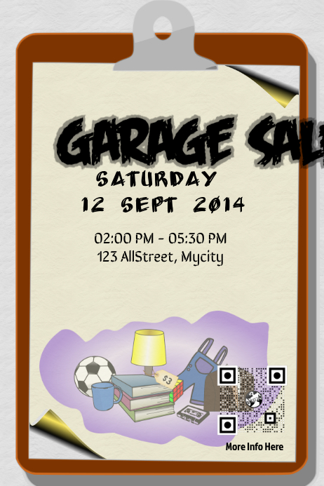 garage sale flyer and poster with save the date qr code template