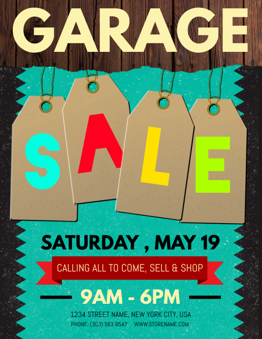 photo regarding Free Printable Sale Signs for Retail referred to as Customise 770+ Garage Sale Templates PosterMyWall