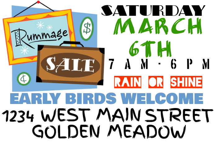 Plantilla de Rummage / Yard / Garage Sale Sign | PosterMyWall