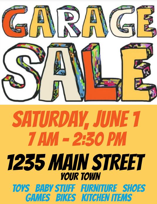 Garage Sale Simple but Cool Flyer (US-Letter) template
