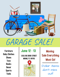 garage sale./moving/yard sale/discounts Folder (US Letter) template