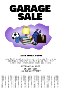 Garage Yard Sale tear-off tabs Flyer Poster Event Template