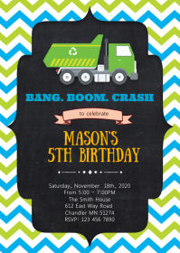 Garbage truck birthday party invitation