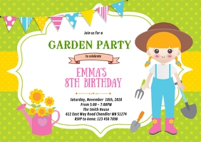 Garden birthday party invitation