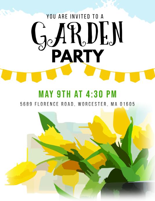 Garden Party Flyer Template Pamflet (Letter AS)
