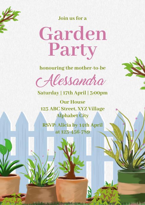 Garden Party Invitation A4 template