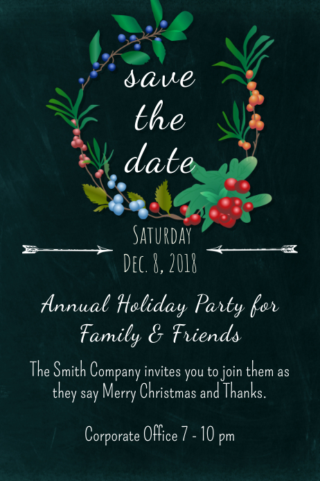 Save The Date Christmas Cards.Garden Save The Date Template Postermywall