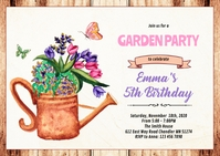 Garden shower party invitation A6 template
