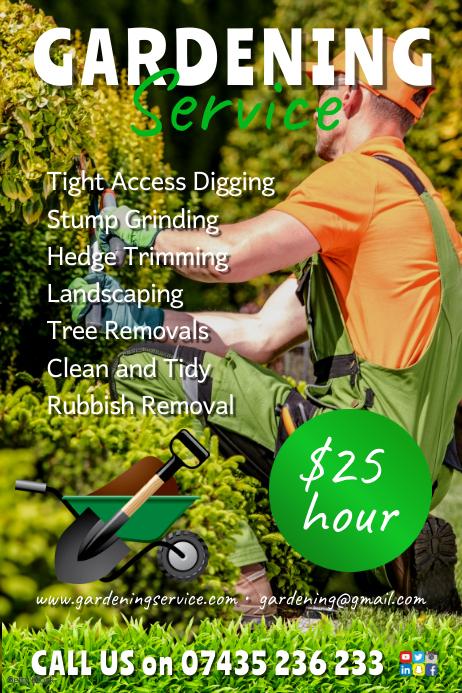 Gardening company flyer โปสเตอร์ template