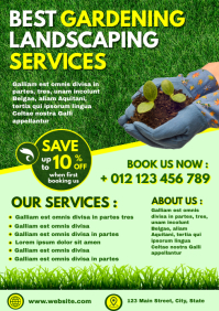 gardening landscaping services flyer template A4
