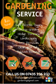 Gardening services flyer Poster template
