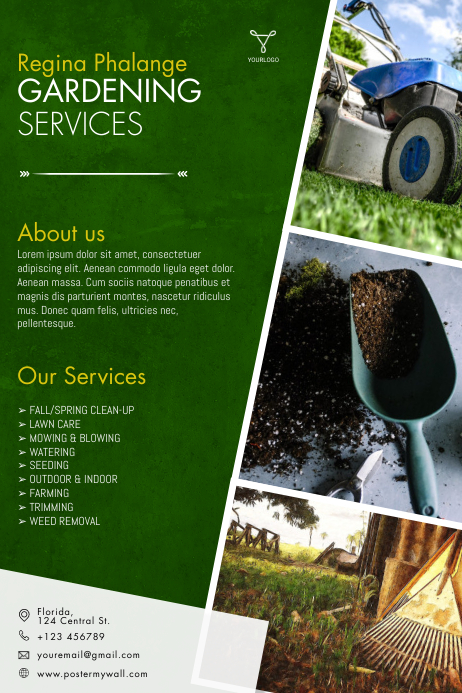 Gardening Services flyer template Poster