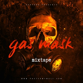 Gas Mask Mixtape CD Cover Template