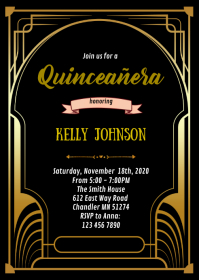Gatsby Quinceañera birthday invitation