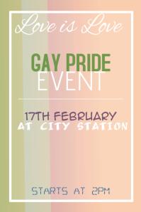Gay Pride Event Rainboe Poster Template Portrait