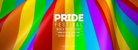 GAY PRIDE FESTIVAL Waving Flag Facebook Cover Photo template