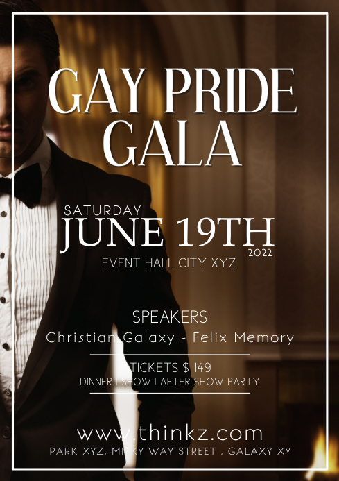 Gay Pride Gala Event Celebration Glam Dinner A4 template