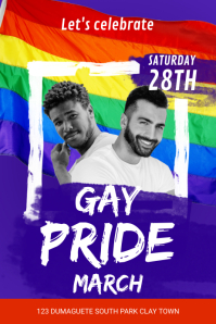 Gay Pride March Invitation Poster template