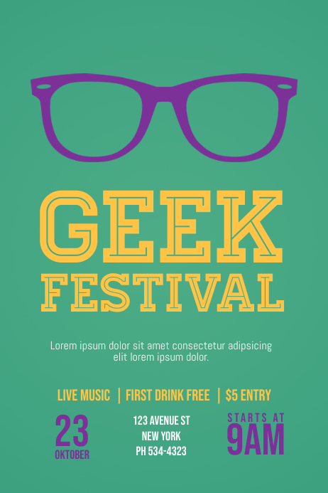 Geek Nerd Event Flyer Template Postermywall