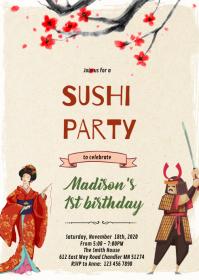 Geisha samurai sushi invitation A6 template