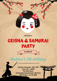 Geishas and Samurais party invitation A6 template