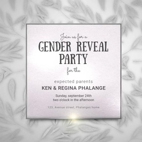 Gender Reveal Baby Shower invitation Template Kvadrat (1:1)
