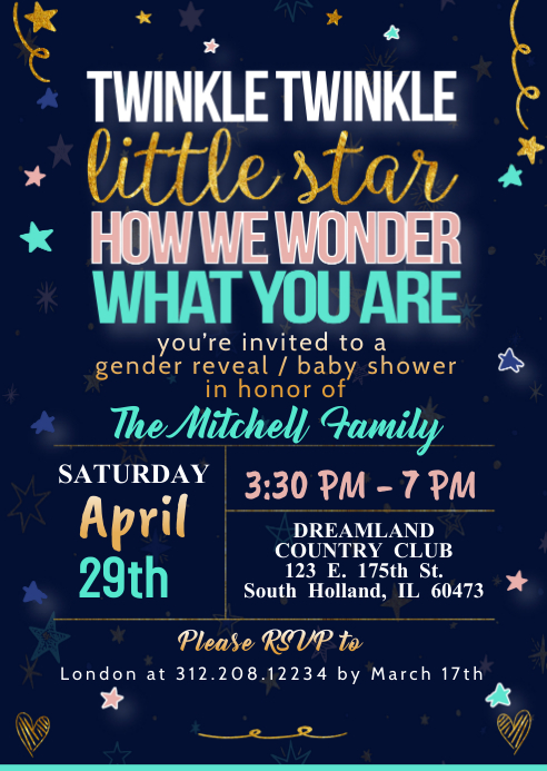 Gender Reveal Baby Shower Invite Template Postermywall