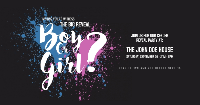 Gender Reveal Party Facebook Shared Image template