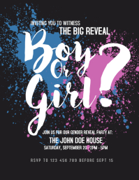 Gender Reveal Party Flyer template
