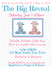 Gender Reveal Party Invitation polka dots giraffe