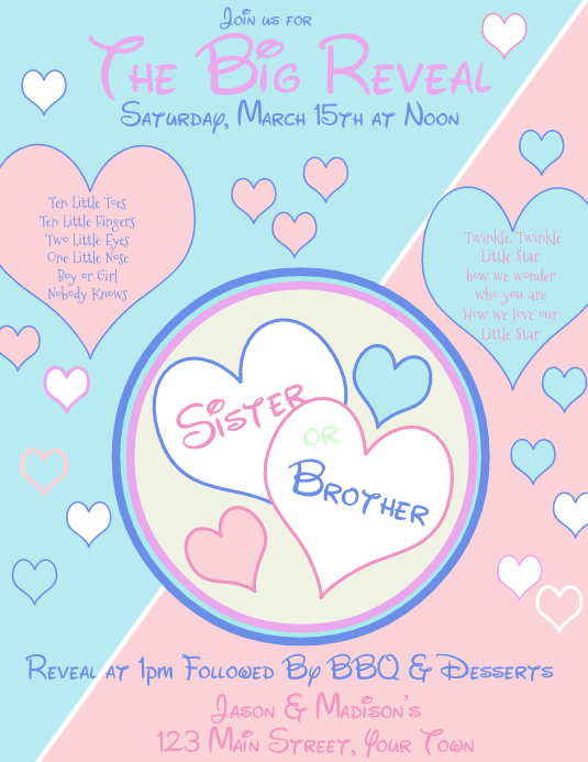 Gender Reveal Party Invitation Sister Or Brother Template Postermywall