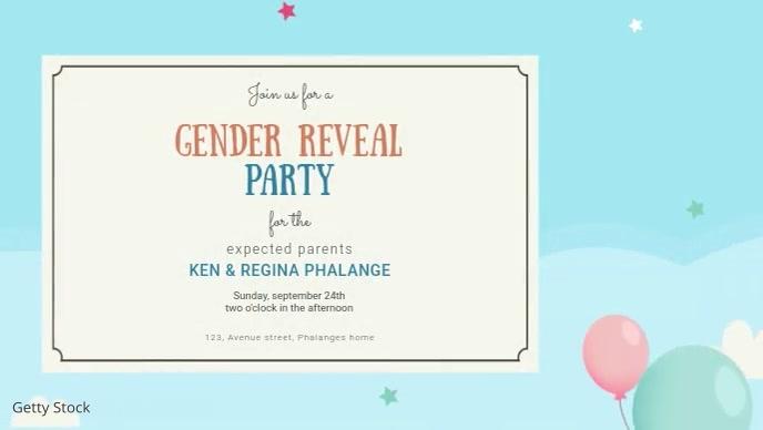 Gender reveal video invitation template
