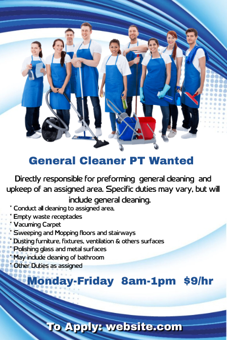General Cleaner PT Needed Plakat template