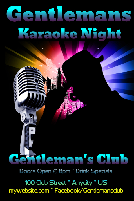 Gentlemans Karaoke Night Poster · Customize Template