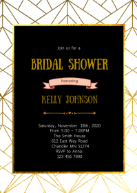 Geometric bridal shower invitation A6 template