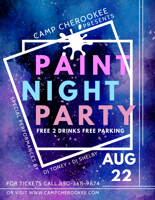 Geometric Paint Night Party Flyer Design