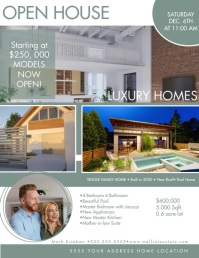 Geometrical Open House Luxury Home Flyer Brow Volante (Carta US) template