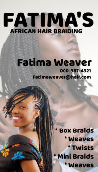 african hair braiding business card 名片 template